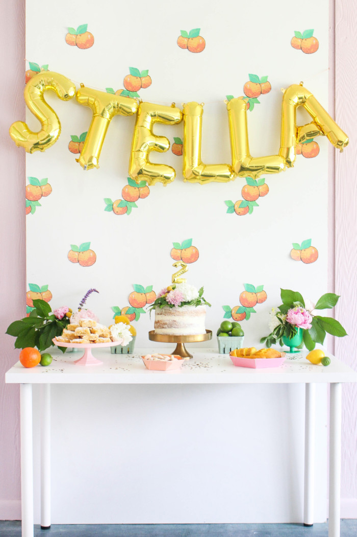 Happy vintage citrus party with DIY details and fresh florals via ajoyfulriot.com