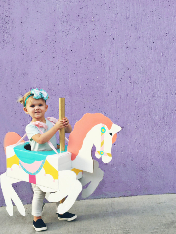 a cheap carousel horse costume diy from cardboard that is cheap and adorable a