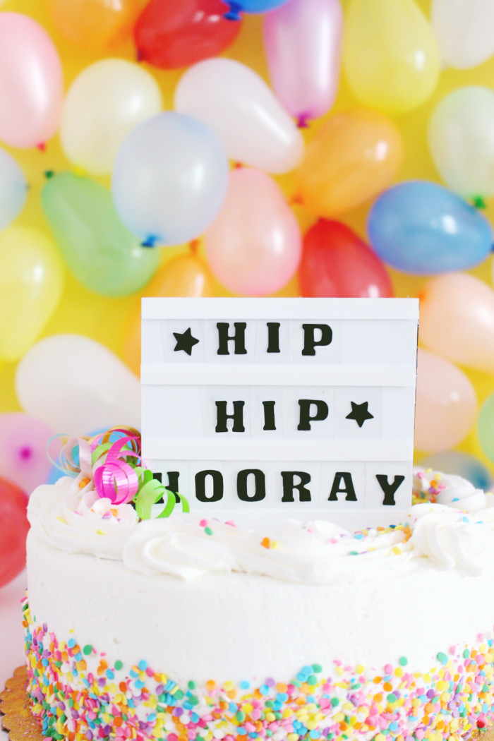 Tiny mini cinema lightbox cake topper you can make yourself. Perfect for any occasion! A Joyful Riot