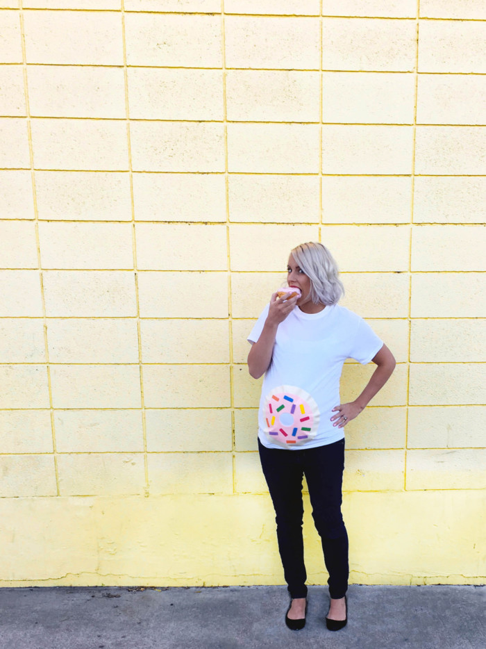 DIY donut belly easy maternity costume. Just a shirt and felt. Free templates in post! | A Joyful Riot