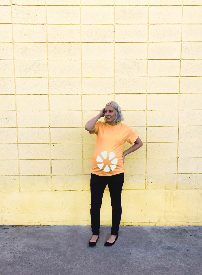 DIY fruit slice belly easy maternity costume. Just a shirt and felt. Free templates in post! | A Joyful Riot