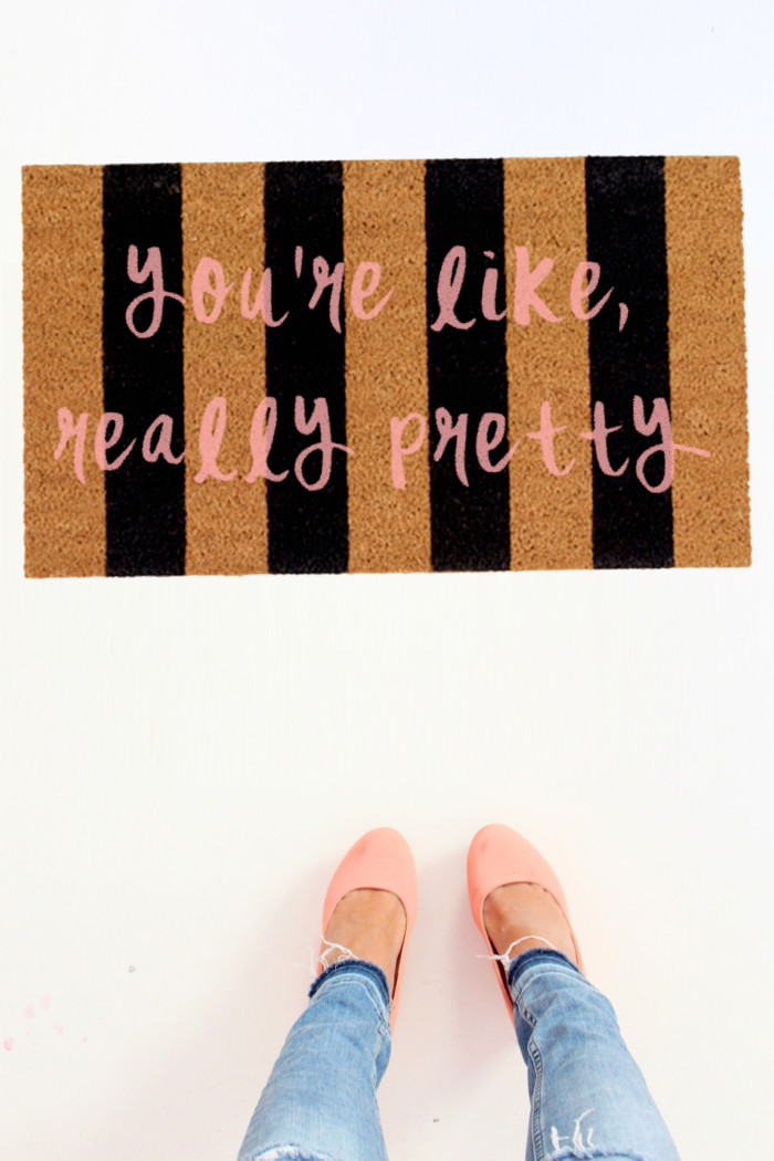 Make a doormat featuring your fave Mean Girls quote | Mean Girls Doormats via A Joyful Riot