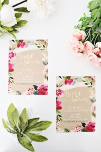 Floral wreath gold foil bridal shower invitation