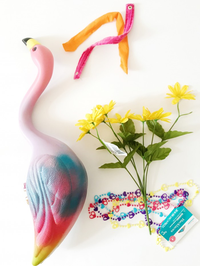DIY hippie costume for lawn flamingo