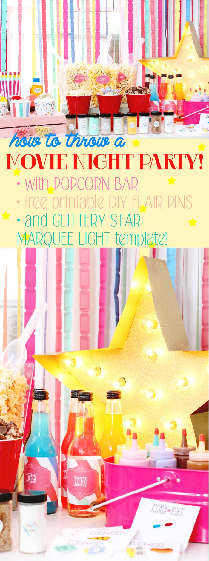 Throw a super colorful and fun movie night party for the whole family! DIYs, free printables, flair pins, and movie lights!
