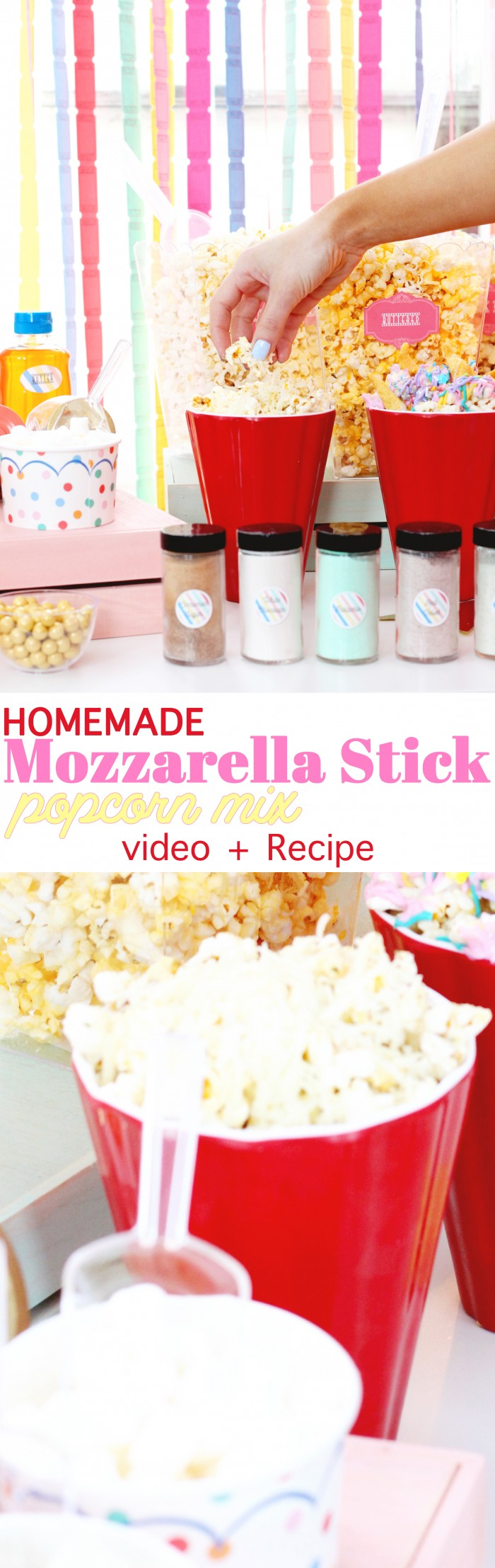 Yummy recipe for a mozzarella stick flavored popcorn mix!