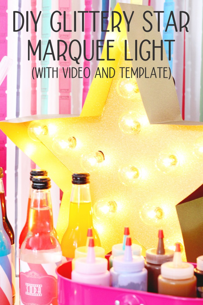 Fun and bright gold glitter star marquee light, perfect for a movie night
