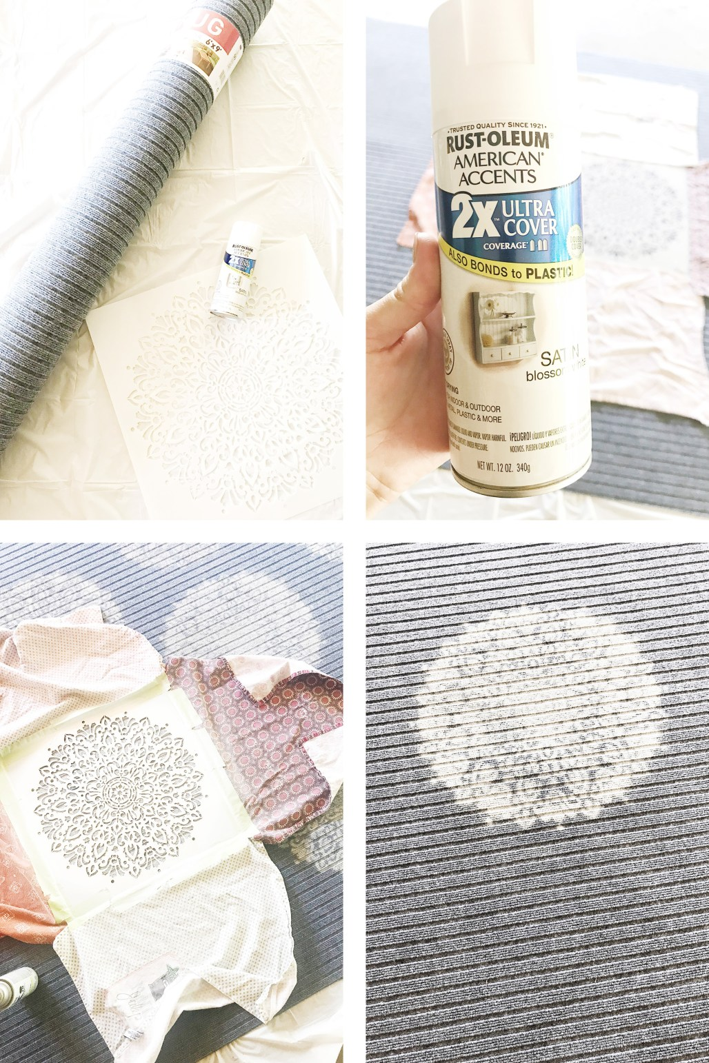 DIY Outdoor Rug with Spray Paint and stencil