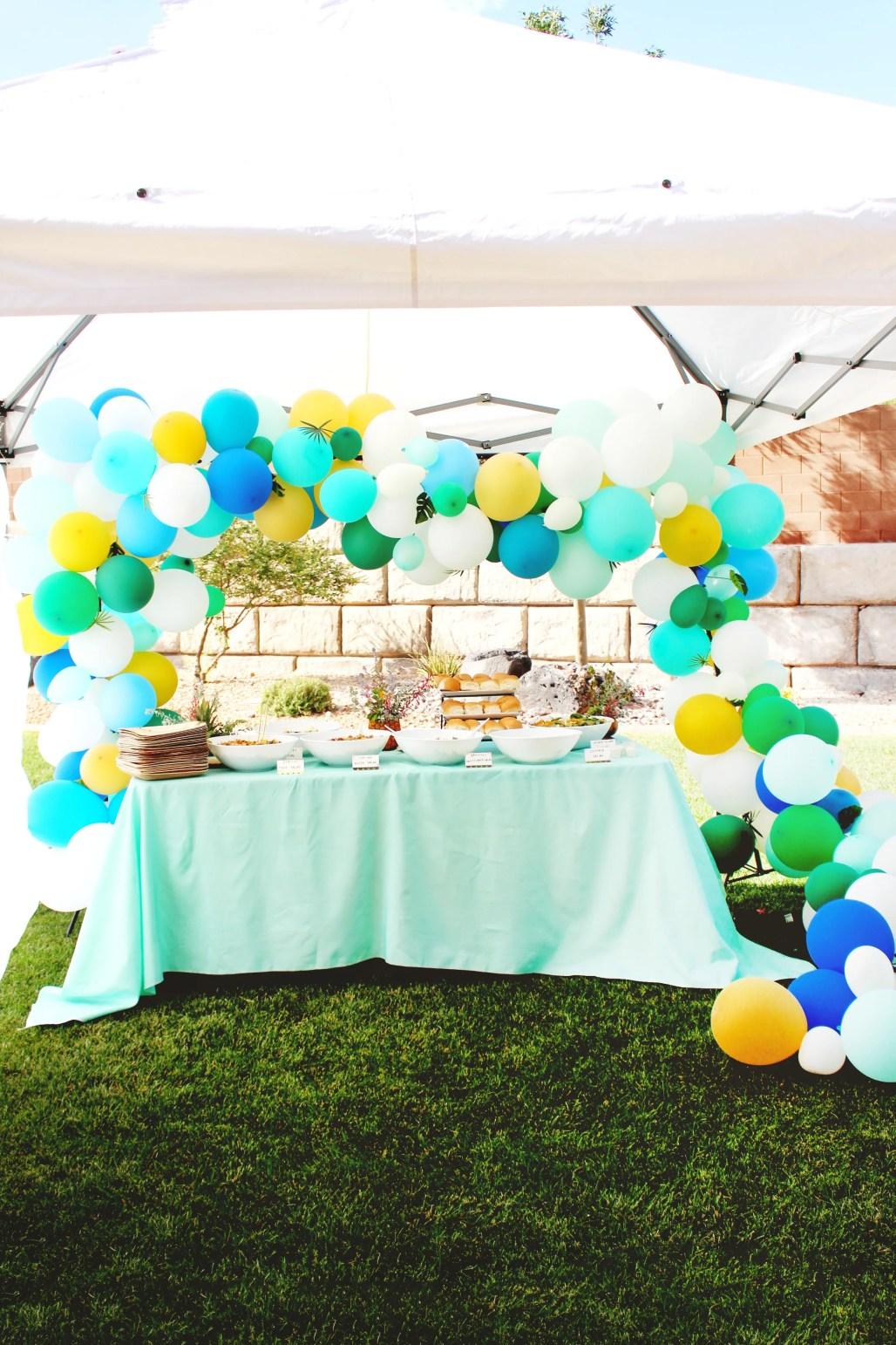 Modern Tropical 80th Birthday Party boy birthday party balloon arch