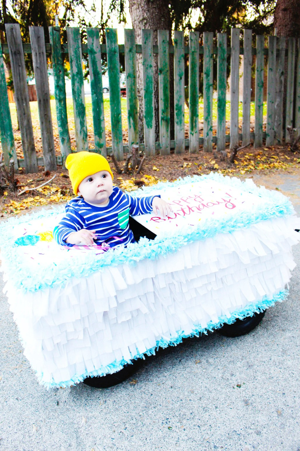 DIY sheet cake wagon + birthday candle costume