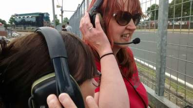 Alison and Steph at the pit wall updating Jon.