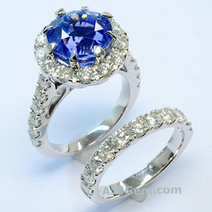 7.61 ct Blue Sapphire and Diamond Ring Set
