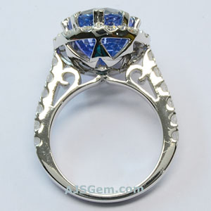 7.61 ct Blue and Diamond Ring
