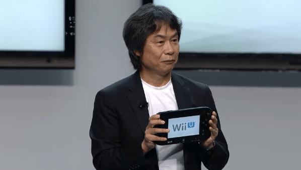 Miyamoto with Wii U controller