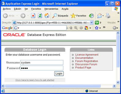 Instalar Oracle Database 10g Express Edition - Acceso a la administración de Oracle XE