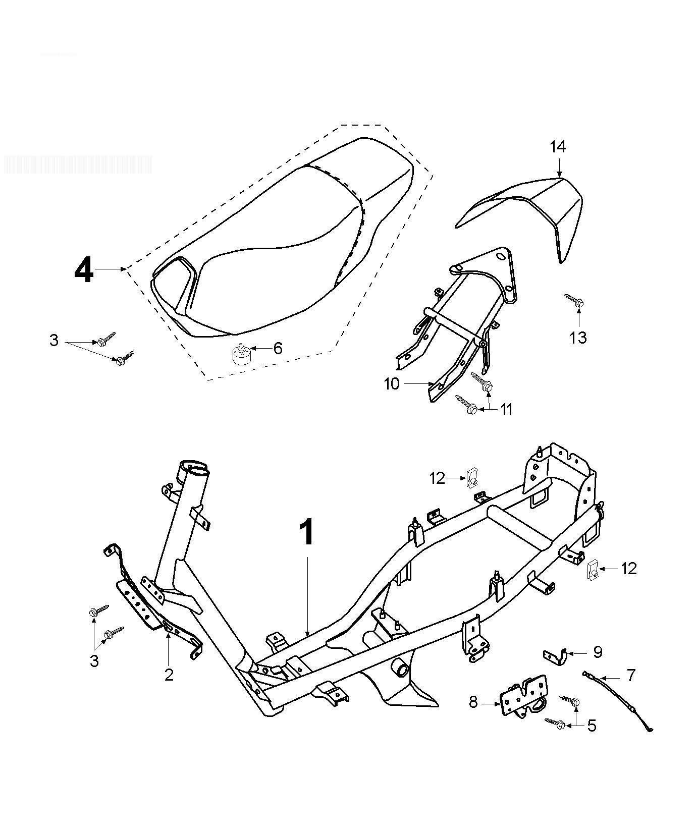 Peugeot speedfight 2 100 n gp frame saddle carrier