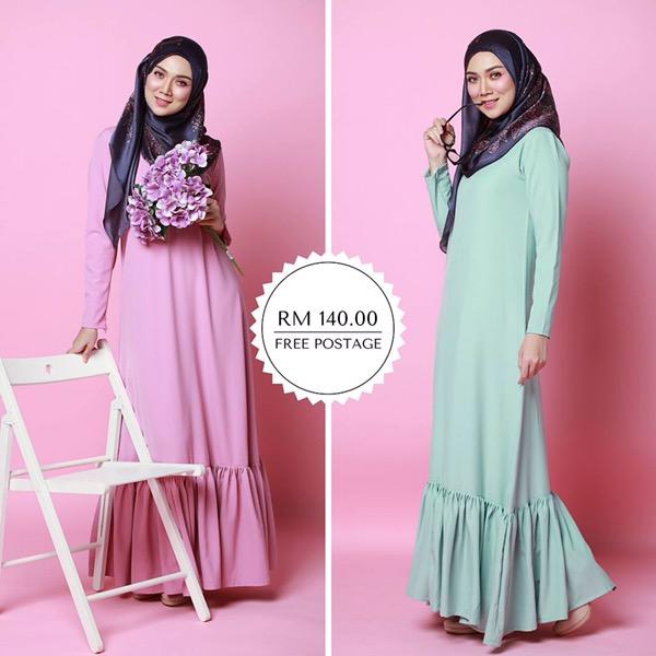 Dress flowy muslimah