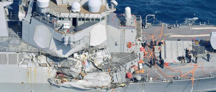 خسائر حادث اصطدام المدمرة الأميركية