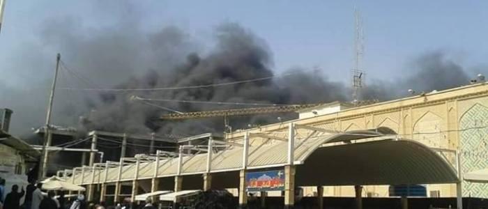 نشوب حريق بصحن فاطمة قرب مرقد الامام علي