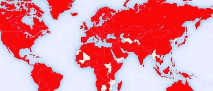 انظر خارطة الكرة الأرضية بعد غزو كورونا العالم