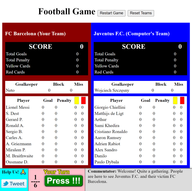 Football game with score cards, commentary and play button