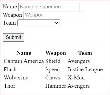 Create operation in CRUD Svelte with html form to add a new superhero into the table