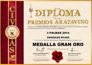 3 Palmas 2014 Diploma Medalla GRAN ORO CIVAS 2016 © akataVino.es