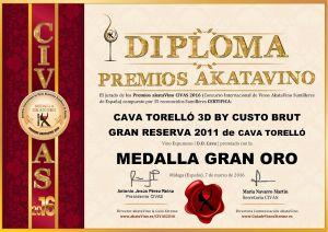 Cava Torello 3D by Custo Diploma Medalla GRAN ORO CIVAS 2016 © akataVino.es