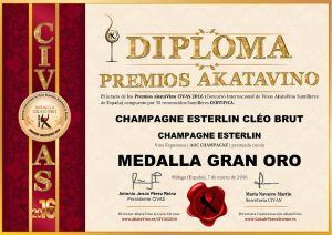 Champagne Esterlin Cleo Brut Diploma Medalla GRAN ORO CIVAS 2016 © akataVino.es
