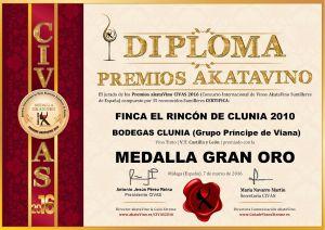 Finca el Rincon de Clunia 2010 Diploma Medalla GRAN ORO CIVAS 2016 © akataVino.es
