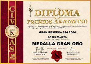 Gran Reserva 890 2004 Diploma Medalla GRAN ORO CIVAS 2016 © akataVino.es