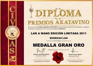 Lan a Mano Edición Limitada 2011 Diploma Medalla GRAN ORO CIVAS 2016 © akataVino.es