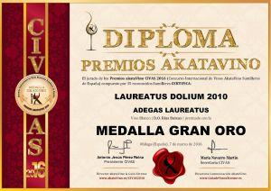 Laureatus Dolium 2010 Diploma Medalla GRAN ORO CIVAS 2016 © akataVino.es