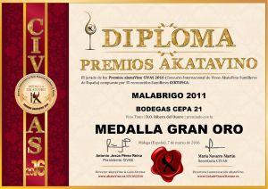 Malabrigo 2011 Cepa 21 Diploma Medalla GRAN ORO CIVAS 2016 © akataVino.es