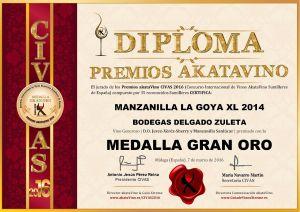 Manzanilla La Goya XL Delgado Zuleta Diploma Medalla GRAN ORO CIVAS 2016 © akataVino.es