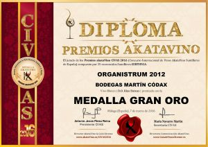 Organistrum 2012 Martin Codax Diploma Medalla GRAN ORO CIVAS 2016 © akataVino.es