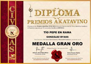 Tio Pepe en Rama Gonzalez Byass Diploma Medalla GRAN ORO CIVAS 2016 © akataVino.es