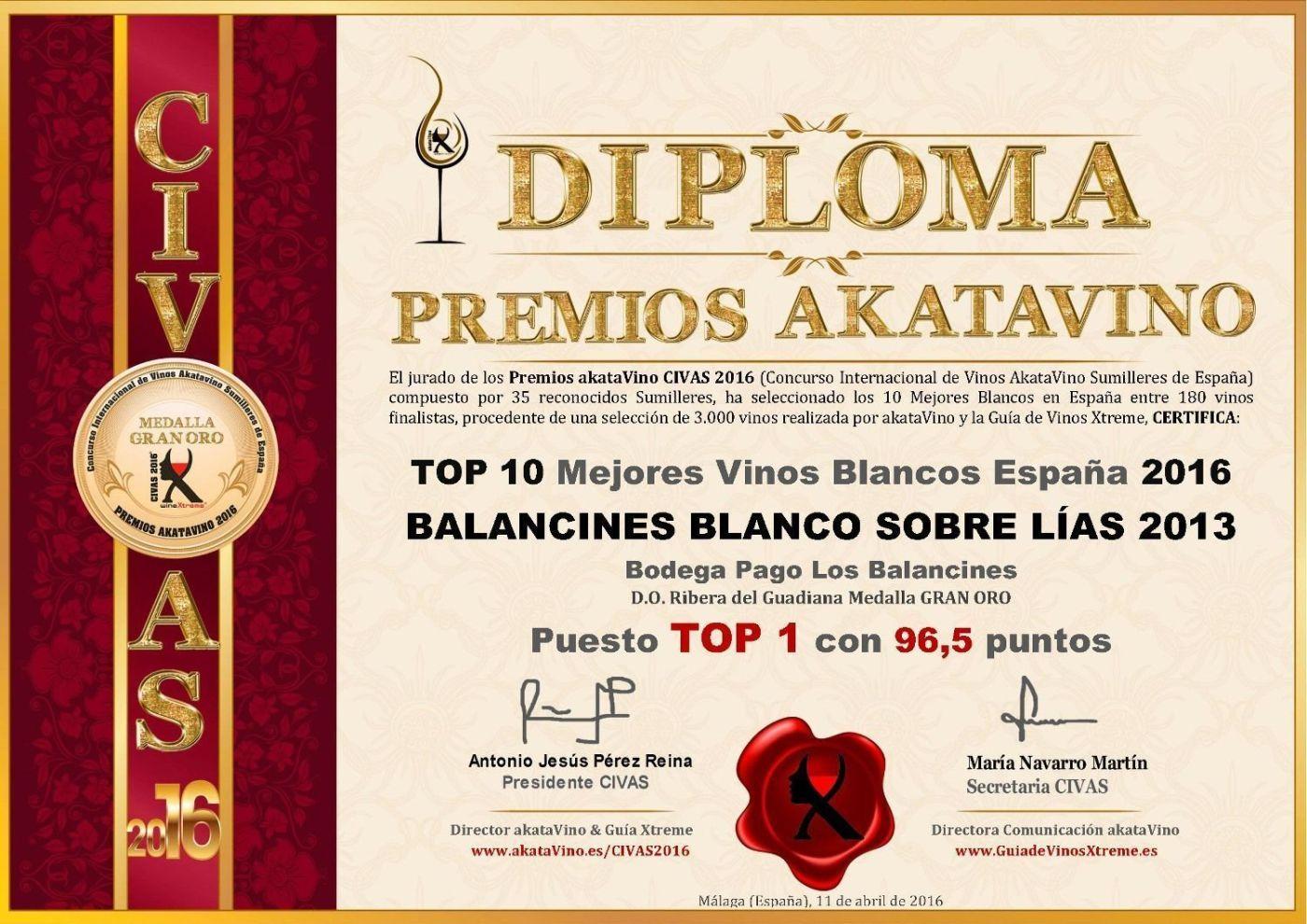 Top 1 Balancines Blanco Sobre Lias 2013 Top 10 Mejores Vinos Blancos en España 2016 © akataVino.es