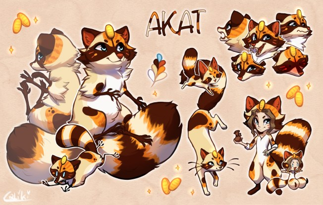 Reference of Lucky Akat Arts' mascot, Akat. A multi-formed creature featuring Raccoon, cat, and human forms. All feature a traditional Koban coin on their foreheads, and calico cat type patterning. Turning them into a Lucky Cat or Maneki-neko style design.