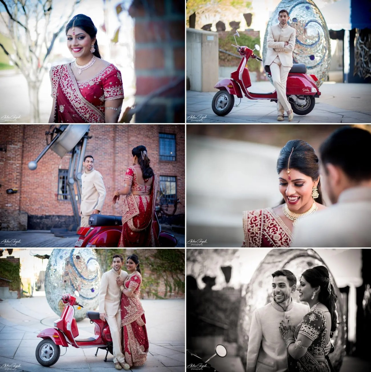 A photo collage of a Indian Bride and Iranian groom during their first look at their wedding at the American Visionary Art Museum in Baltimore, Maryland.
