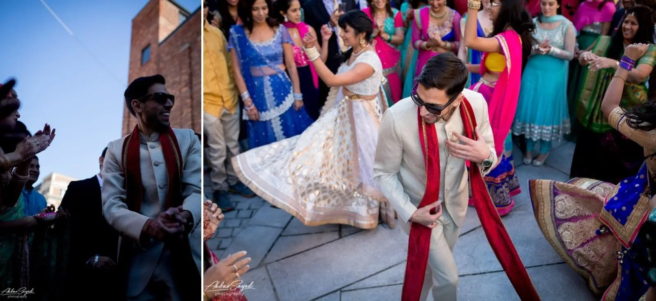 A photo collage of a Iranian groom and bridal party during his Baraat at his Hindu Wedding at the American Visionary Art Museum in Baltimore, Maryland.