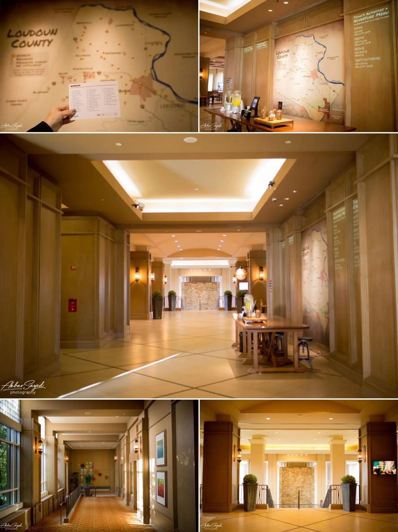 A collage of photographs showing the foyer and entrance area of Lansdowne Resort Wedding Venue in Leesburg, Virginia.