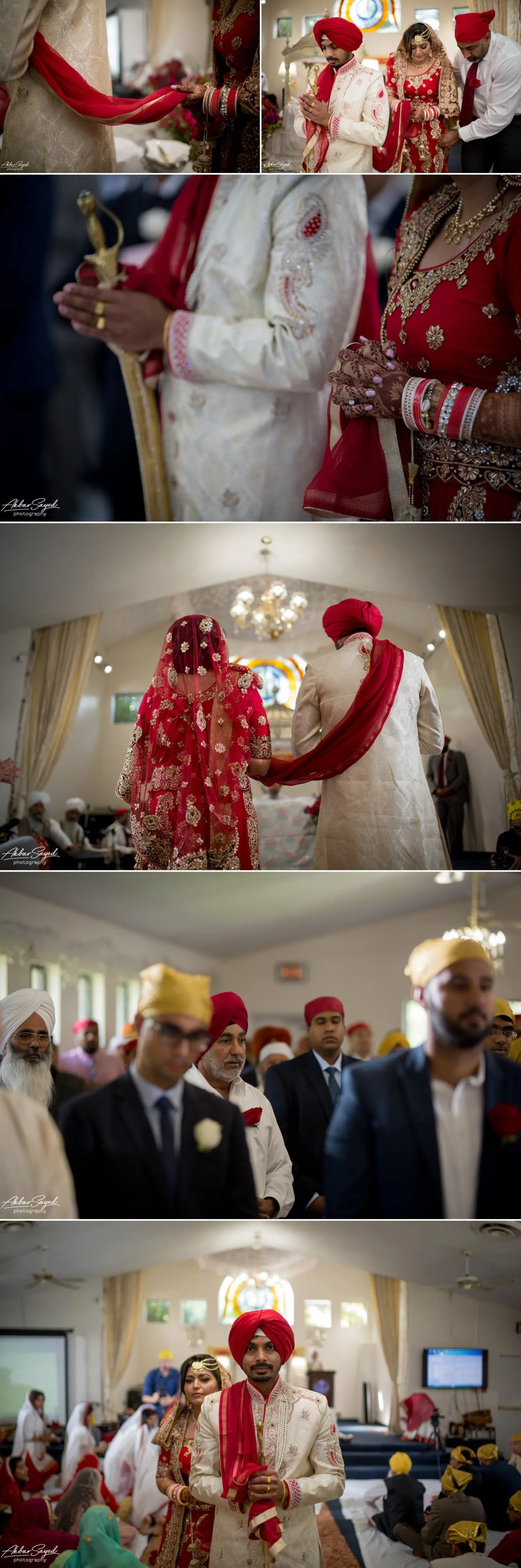 A photo collage of a couple during their Sikh wedding at Guru Nanak Foundation of America in Silver Spring.