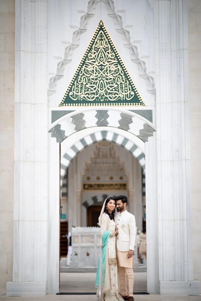 Pakistani muslim couple smiling at the Diyanet Center of America in Lanham Maryland