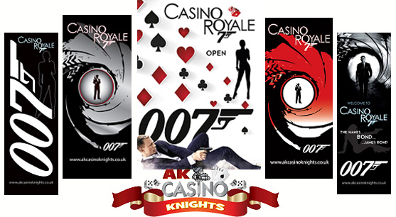 Secret agent banners available at A K Casino Knights
