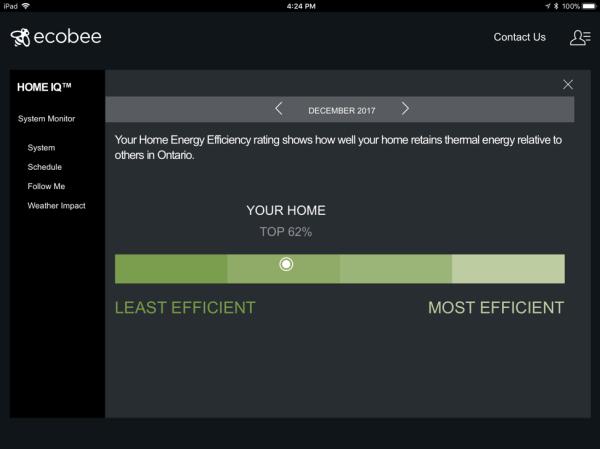 Screenshot of Ecobee smart thermostat display