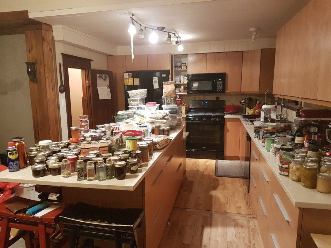 Kitchen chaos without pantry