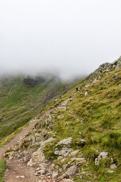 Swirral Edge in Cloud at Helvellyn