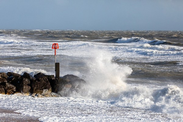Waves hitting a Groyne during Storm Jorge