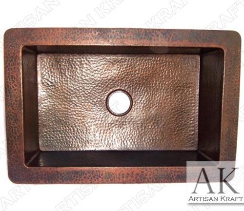farmhouse hammered copper kitchen sink iv